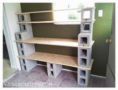 Wood and Cinder Block Shelves | ... Zen} Cement / Concrete / Cinder Blocks + Wood Planks = Extra Storage
