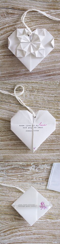 Love Heart Origami. Opens up for message inside. Follow the links for template, step-by-step photo's & video.