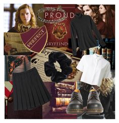 """Hermione Granger - school uniform 1990s"" by rather-be-surfing ❤ liked on Polyvore featuring Marni, CO, American Apparel, T By Alexander Wang and Dr. Martens"