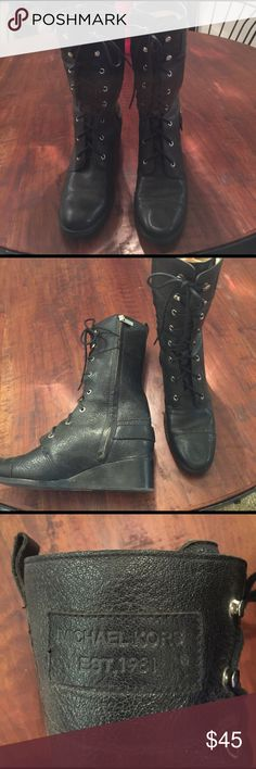 Boots Michael Kors lace up boots with side zippers. Black leather. Lightly used Michael Kors Shoes Lace Up Boots