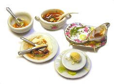 Dollhouse Miniature Dirty Dishes - Handmade 1:12 scale