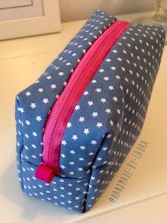 Nähen DIY Tasche Kosmetiktasche Sterne blau Herzen