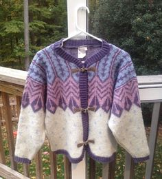 ALAFOSS ICEWOOL Size S ICELANDIC Sweater FAIR ISLE Toggle Button PURPLE BLUE