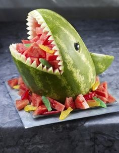 Shark Carved Watermelon for summer parties! Fill with fruit salad and use as a festive centerpiece during Shark Week