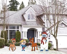 Halloween Yard Art, Christmas Yard Art, Halloween Items, Christmas Items, Hermey The Elf, White Exterior Paint, Mickey Mouse Decorations, Snow Monster, Chip And Dale