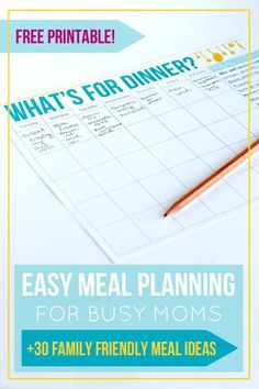 Save yourself time and money by using this simple (free) printable menu planner to keep yourself organized at dinnertime. Plus, get over 30 ideas for family-friendly recipes to use in your planning!