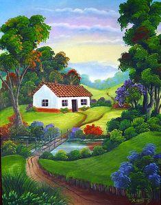 A 80 pieces jigsaw puzzle from Jigidi Beautiful Nature Wallpaper, Beautiful Paintings, Landscape Art, Landscape Paintings, Art Et Nature, Scenery Paintings, Cottage Art, Naive Art, Acrylic Art