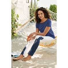Plus-size Parisa Embellished Denim   Soft Surroundings Hem Jeans, Denim Pants, Harem Pants, Soft Surroundings, Pull On Pants, White Beads, Ankle Pants, Pants For Women, Plus Size