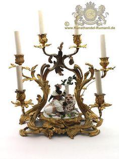"""Meissen Figur """" Afrika """" um 1745 Bronzekandelaber Zyklus die vier Erdteile"""
