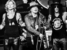 Duff, Axl Rose & Slash of Guns N' Roses at T-Mobile Arena concert, Las Vegas…