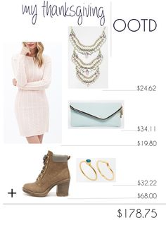 Thanksgiving OOTD, Thanksgiving outfit, outfit of the day, holiday wear, booties, sweater dress, blue clutch, gold ring, stackable rings, statement necklace, faux stone necklace, lulus, forever 21, asos, ellie connard, long hair affair, fall fashion blog post