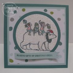 Dayanna's cute holiday card: Bearing Gifts, All is Calm dsp, Circles framelits, & more. All supplies from Stampin' Up!
