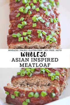 Asian Inspired Meatloaf - Finished with Salt When forces unite! This Asian Inspired Meatloaf combines the soul of American comfort foods with the flavors of asian cuisine to make one spectacular dish! Gluten Free Recipes, Low Carb Recipes, Beef Recipes, Real Food Recipes, Cooking Recipes, Top Recipes, Asian Recipes, Sugar Free Bacon, Curry