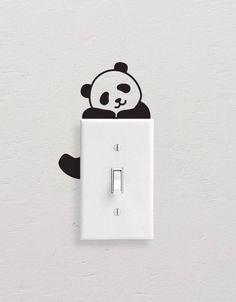 Panda Wall Decals, Panda Light Switch Decal, Simple Panda Vinyl Wall Decal, Panda Stickers, Light Switch Sticker – Willkommen in meiner Welt Simple Wall Paintings, Creative Wall Painting, Wall Painting Decor, Diy Wall Art, Diy Wall Decor, Wall Art Designs, Paint Designs, Wall Design, Design Art