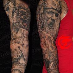 Finally got photos taken of the sleeve... Done by @rolyviruez of @tattootechnique97 in Clarksville, TN. #tattoo #sleevetattoo #sleevetattoos #sleeve #ink #inked #tattooedmilitary #supporttattooedmilitary #norsetattoo #odin #fenrir #jormungandr #norsemythology #freshink #tattooed #art #tattoolife #tattooguy #tattooedmen