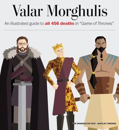 "Before the ""Game of Thrones"" Season 5 premiere, The Washington Post took a look back and noted every on-screen death from the first four seasons. Here are all 456 deaths in illustrated form, including who, how, why and where."