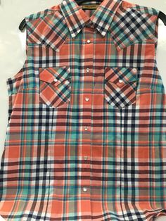 60ea4649 Wrangler Ladies cut off sleeve Western Shirt LW2044M Western Shirts, Cut  Off, Plaid,