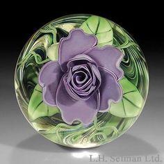 "steven lundberg art glass | Steve & Ola Lundberg S/J Lundberg ""Sterling Rose"" lavender rose ..."