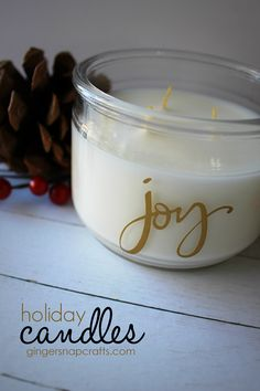 Ginger Snap Crafts: Personalized Holiday Candles {tutorial} - using vinyl & your Silhouette