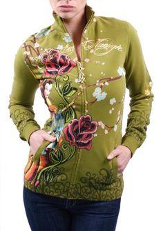 CHRISTIAN AUDIGIER Ed Hardy Geisha Flowers Tattoo Womens Track Jacket