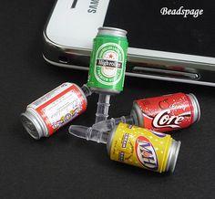3pc Miniature 3D Can Beverage Dust Plug, 3.5mm Phone plug, Dust Stopper, Earphone Cap, Headphone Jack, Cellphone accessory, gift, ipad