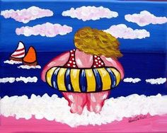 """Beach Diva In Tube"" by Renie Britenbucher Canvas Art Prints, Fine Art Prints, Plus Size Art, Fat Art, Beach Artwork, Art Impressions, Whimsical Art, Illustrations, Painted Rocks"