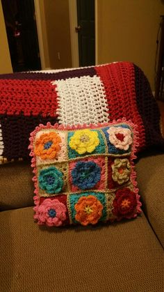 My crocheted spring pillow.