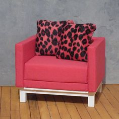 Furry Pink Leopard   2 Pack of Sixth Scale Accent by smidgehouse, $10.00. Approximately 2 inches