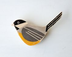 Bird Brooch - Chickadee, Wood Brooch, Black-capped Chickadee, fashion accessory via Etsy. Nice looking fly boy ; Bird Jewelry, Ceramic Jewelry, Jewelry Art, Jewelry Design, Unique Jewelry, Plastic Fou, Shrink Plastic, Bird Crafts, Contemporary Jewellery