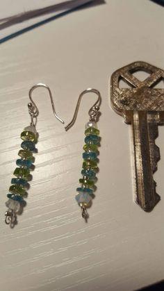 Dangle earrings. Aquamarine and peridot. by MadeByMargPlus on Etsy
