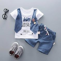 730fce79d7ee ... sets directly from China set boy Suppliers  Summer Baby Infants Boys  Short Sleeve Plaid Cotton Fake Vest T-shirt+Short Pants Clothing Set Boys  Sets