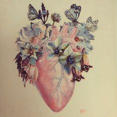 Heart and flowers tattoo idea