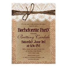 Rustic Country Burlap and Lace Printed Design Bachelorette Party Invitations