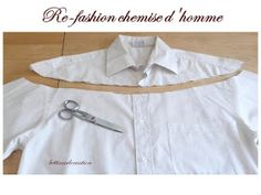 Idée Couture : Que faire avec une chemise dhomme ? Fashion Fabric, Diy Fashion, Sewing Clothes, Diy Clothes, Refashioning Clothes, Shirt Transformation, Clothing Hacks, Upcycled Clothing, Kids Outfits