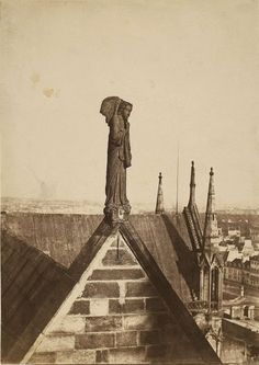 The Angel of the Resurrection on the Roof of Notre-Dame, Paris Charles Nègre. Cleveland Museum Of Art, Art Institute Of Chicago, Monuments, Notre Dame France, Paris Vintage, Sacred Architecture, Vintage Architecture, Historic Architecture, Gothic Cathedral