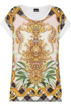 just cavalli printed satin and jersey t shirt net a porter