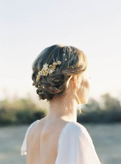 Ethereal + boho #wedding hairstyle idea - braided updo hairstyle with gold hairpiece {Hushed Commotion}
