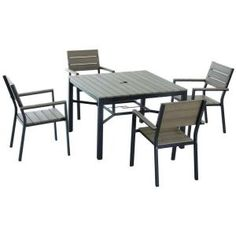 Hampton Bay Marshall 5 Piece Patio Dining Set With Textured Silver Pebble  Cushions HD14302 At The Home Depot | Home Ideas | Pinterest | Patio Dining,  ...