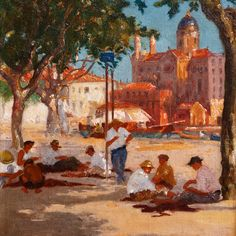 Mending Fishing Nets at the Port of St. Raphael, by Francois Charles Baude (1880-1953)