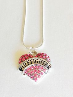 Firefighter maltese cross emblem necklace with inital gift for firefighter rhinestone heart necklace perfect gift for firefighter wife mother daughter girlfriend aloadofball Gallery