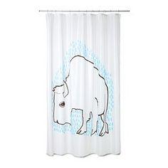 "TYDINGEN shower curtain, blue, white Length: 71 "" Width: 71 "" Area: 34.88 sq feet Length: 180 cm Width: 180 cm Area: 3.24 m²"