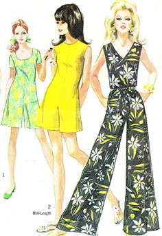 1960s Womens Jumpsuit and Romper Pattern Simplicity 8146 Mod V or Scoop Neck Long or Short Pantdress Womens Vintage Sewing Pattern Bust 38