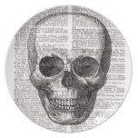 Vintage Skull Print on Dictionary Page Plate #halloween #happyhalloween #halloweenparty #halloweenmakeup #halloweencostume