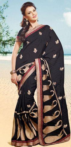 $91.26 Black Resham Work Silk Saree 25544
