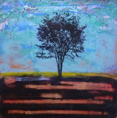 """""""eye of the storm"""" - deanna hutton image of tree - nancy donaldson 12 x 12 - encaustic + photo transfer on recycled particleboard"""