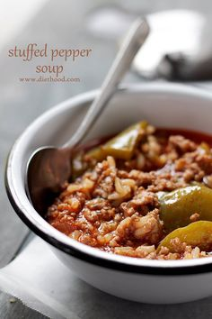 Stuffed Pepper Soup | www.diethood.com | Hearty, comforting, warm and incredibly flavorful Stuffed Pepper Soup. | #recipe #soup #stuffedpeppers