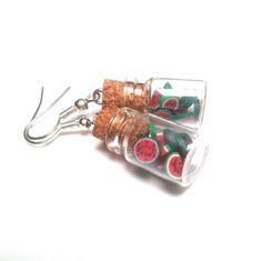 Kolczyki KOMPOT ARBUZOWY w unoprimo na DaWanda.com Plugs Earrings, Star Earrings, Star Jewelry, Unique Jewelry, Bottle Sizes, Summer Jewelry, Creative Crafts, Glass Bottles, Wedding Jewelry
