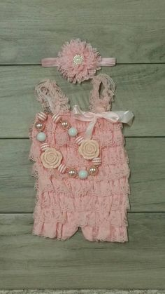 Newborn Petti Lace Romper Set w/ Romper, Headband & Chunky Necklace- Light Pink Newborn-toddler Lace romper