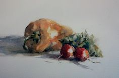 """Yellow Pepper and Radishes"" original watercolor by Julie Hill (6"" x 9"")"