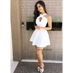 Simple Halter White Cutout Satin Homecoming Dress for School Party White Homecoming Dresses, Hoco Dresses, Junior Dresses, Sexy Dresses, Cute Dresses, Evening Dresses, Party Dresses, Kohls Dresses, Prom Dress